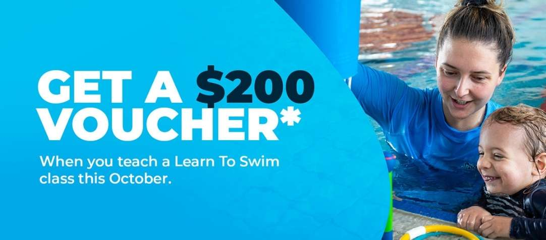 All BlueFit Swim Instructors who teach a class in October will receive a $200 voucher*!